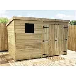 10FT x 6FT Pressure Treated Tongue & Groove Pent Shed + Double Doors + 1 Window
