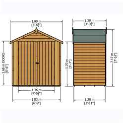 4ft x 6ft (1.19m x 1.79m ) - Pressure Treated Overlap - Apex Garden Shed - Windowless - Double Doors - 10mm Solid OSB Floor