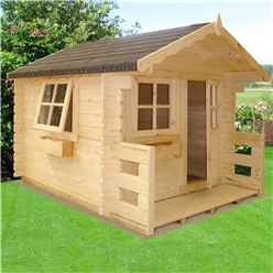 6ft x 7ft (1.69m x 1.79m) - Salcey Playhouse - 28mm Logs to Walls - 2 Opening Windows - Single Door - Apex Roof