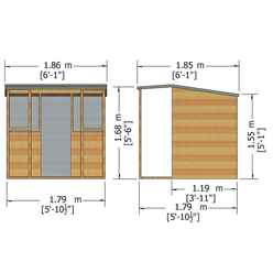 6ft x 4ft (1.79m x 1.19m) - Jail House Playhouse - 12mm Tongue and Groove - 2 Windows - Single Door - Pent Roof