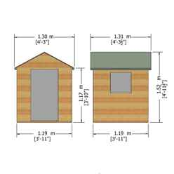 4ft x 4ft (1.19m x 1.19m) - Wooden Hide Playhouse - 12mm Tongue & Groove - 1 Fixed Window - Single Door - Apex Roof