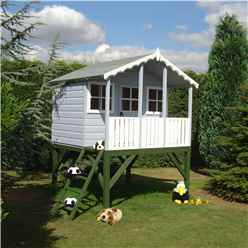 6ft x 4ft (1.79m x 1.19m) - Wooden Stork Playhouse With Platform - 12mm Tongue & Groove - 2 Opening Windows - Single Door - Apex Roof