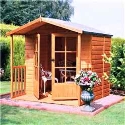 7ft x 7ft (2.05m x 1.98m) - Premier Wooden Summerhouse + Veranda - Double Doors - 12mm T&G Walls & Floor