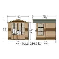 7ft x 7ft (2.05m x 1.98m) - Premier Wooden Summerhouse - Double Doors - 12mm T&G Walls - Floor - Roof