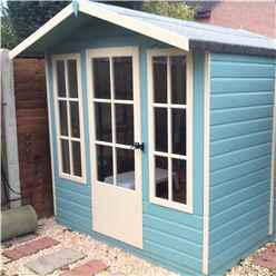 7ft x 7ft (2.05m x 1.98m) - Premier Wooden Summerhouse - Single Door - 12mm T&G Walls - Floor - Roof