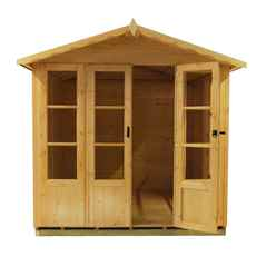 7ft x 7ft (2.05m x 1.98m) - Premier Wooden Summerhouse - Double Doors - Side Windows - 12mm T&G Walls & Floor