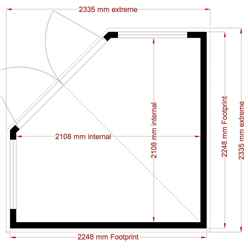8ft x 8ft (2.24m x 2.24m) - Hanbury Corner Summerhouse - 12mm T&G Floor