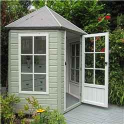6ft x 7ft (1.87m x 2.16m) -  Premier Wooden Hexagonal Summerhouse - Single Door - 12mm T&G Walls & Floor