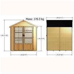 6ft x 6ft (1.76m x 1.83m) - Value Overlap Summerhouse - Double Doors - 11mm OSB Floor & Roof