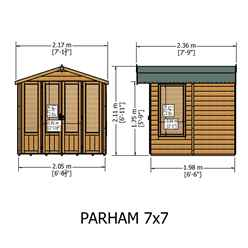7ft x 7ft (2.69m x 2.05m)  - Premier Wooden Summerhouse - Double Doors + Side Windows - 12mm T&G Walls - Floor - Roof