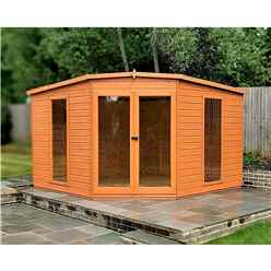 10ft x 10ft (2.99m x 2.99m) - Premier Corner Wooden Summerhouse - Double Doors - 12mm T&G Walls - Floor - Roof (BS CORE)