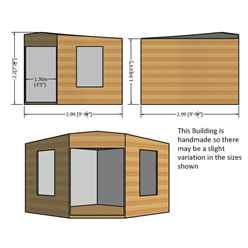 10ft x 10ft (2.99m x 2.99m) - Premier Corner Wooden Summerhouse - 2 Opening Windows - 12mm T&G Walls - Floor - Roof