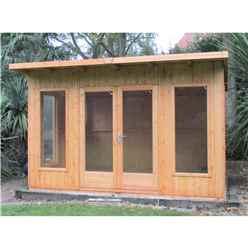 12ft x 10ft (3.59m x 2.99m) - Premier Pent Wooden Summerhouses - 6 Windows - Double Doors - 12mm T&G Walls - Extra Strength Floor 16mm T&G (BS CORE)