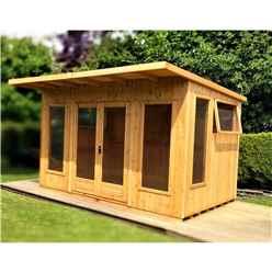 12ft x 10ft (3.59m x 2.99m) - Premier Pent Wooden Summerhouses - 6 Windows - Double Doors - 12mm T&G Walls - Extra Strength Floor 16mm T&G