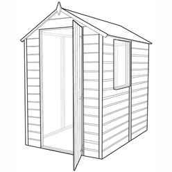 6ft x 4ft (1.83m x 1.19m) - Stowe Tongue & Groove - Apex Garden Shed / Workshop - 1 Window - Single Door - 10mm Solid OSB Floor