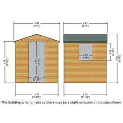 6ft x 6ft (1.79m x 1.79m) - Stowe Tongue & Groove - Apex Garden Shed / Workshop - 1 Opening Window - Single Door - 12mm Tongue and Groove Floor