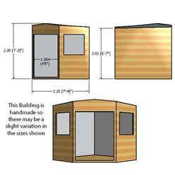 8ft x 8ft (2.25m x 2.25m) - Stowe Tongue & Groove - Corner Pent Shed / Workshop - 2 Opening Windows - Double Doors - 12mm T&G Floor