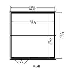 12ft x 12ft - (3.73m x 3.59m) - Tongue & Groove - Apex Workshop - 2 Opening Window - Double Doors - 16mm Tongue & Groove Floor