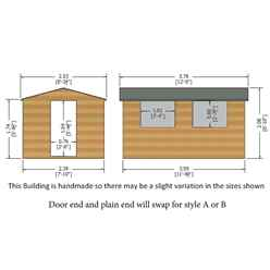12ft x 8ft (3.59m x 2.39m) - Tongue And Groove - Wooden Apex Workshop - 12mm Tongue And Groove Floor and Roof
