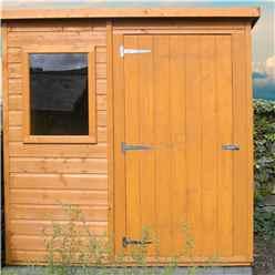 INSTALLED - 6ft x 4ft (1.16m x 1.77m) - Tongue & Groove - Pent Garden Shed - 1 Opening Window - Single Door - 10mm Solid OSB Floor