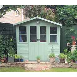 INSTALLED 7ft x 5ft (2.05m x 1.62m) - Premier Wooden Summerhouse - Central Double Doors - 12mm T&G Walls & Floor
