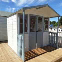 INSTALLED 7ft x 7ft (2.05m x 1.55m) -  Premier Wooden Summerhouse - Double Doors - Side Windows - 12mm T&G Walls & Floor