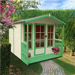 INSTALLED - 7ft x 7ft (2.05m x 1.98m) - Premier Wooden Summerhouse - Single Door - 12mm T&G Walls - Floor - Roof