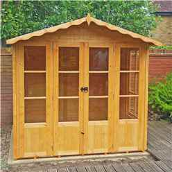 INSTALLED 7ft x 7ft (2.05m x 1.98m) - Premier Wooden Summerhouse - Double Doors - Side Windows - 12mm T&G Walls & Floor