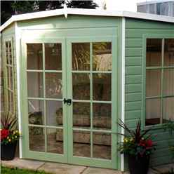 INSTALLED 8ft x 8ft (2.24m x 2.24m) - Premier Wooden Corner Summerhouse - Double Doors - 12mm T&G Walls & Floor INSTALLATION INCLUDED