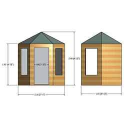 INSTALLED 6ft x 7ft (1.87m x 2.16m) - Premier Wooden Hexagonal Summerhouse - Single Door - 12mm T&G Walls & Floor INSTALLATION INCLUDED