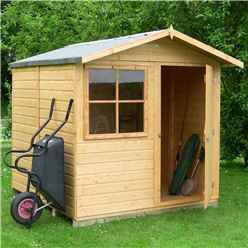 INSTALLED - 7ft x 7ft (2.05m x 1.98m) - Tongue & Groove Apex Garden Shed - 1 Window - Single Door - 12mm Tongue and Groove Floor