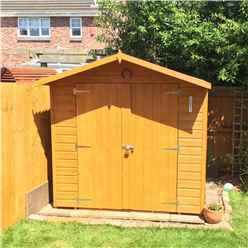 INSTALLED - 7ft x 7ft (2.05m x 2.05m)  Stowe Tongue & Groove - Apex Garden Shed / Workshop 1 Opening Window - Double Doors - 12mm Tongue and Groove Floor