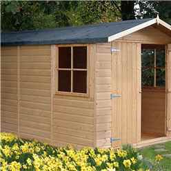 INSTALLED - 13ft x 7ft (4.03m x 2.05m) - Stowe Tongue & Groove - Apex Garden Shed - 2 Opening Windows - Double Doors - 12mm Tongue and Groove Floor