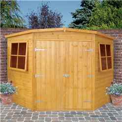 INSTALLED - 10ft x 10ft (2.99m x 2.99m) - Tongue And Groove - Corner Wooden Garden Shed / Workshop - 2 Opening Windows - Double Doors - 12mm Tongue And Groove Floor - INCLUDES INSTALLATION