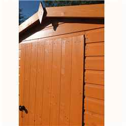INSTALLED - 8ft x 6ft (2.39m x 1.79m) - Tongue And Groove Security - Apex Garden Wooden Shed - High Level Windows - Single Door - 12mm Tongue And Groove Floor And Roof  INSTALLATION INCLUDED