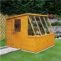 INSTALLED - 8ft x 6ft  (2.39m x 1.79m) Tongue And Groove - Potting Shed With Opening Side Window INSTALLATION INCLUDED