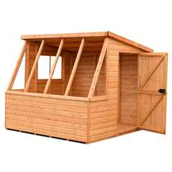 INSTALLED - 8ft x 8ft  (2.39m x 2.39m) Tongue And Groove - Potting Shed With Opening Side Window