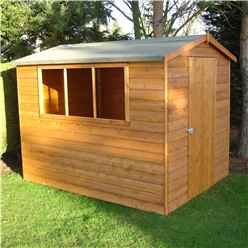 INSTALLED 8ft x 6ft (2.39m x 1.79m) - Tongue And Groove - Apex Workshop - 2 Windows - Single Door - 12mm Tongue And Groove Floor and Roof