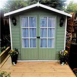 INSTALLED 7ft x 5ft (1.55m x 2.05m) - Premier Wooden Summerhouse - Double Doors - 12mm Tongue And Groove Floor
