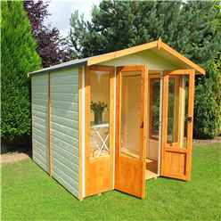 INSTALLED 7ft x 7ft (2.69m x 2.05m) Premier Wooden Summerhouse - Double Doors + Side Windows - 12mm T&G Walls - Floor - Roof INSTALLATION INCLUDED