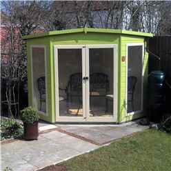 INSTALLED 7ft x 7ft (2.69m x 2.05m) - Premier Corner Wooden Summerhouse - Double Doors - Side Windows - 12mm T&G Walls & Floor
