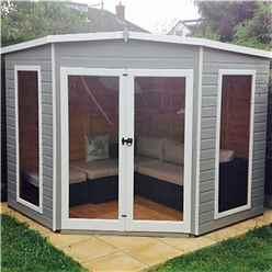 INSTALLED 8ft x 8ft (2.25m x 2.25m) - Premier Corner Wooden Summerhouse - Double Doors - Side Windows - 12mm T&G Walls & Floor INSTALLATION INCLUDED