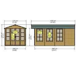 INSTALLED 13ft x 7ft (3.96m x 2.05m) -  Premier Wooden Summerhouse + Veranda + Overhang - 12mm T&G - Walls - Floor - Roof