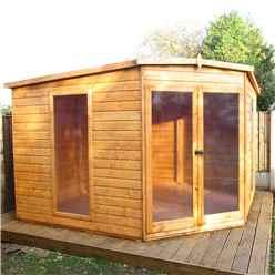 INSTALLED 10ft x 10ft (2.99m x 2.99m) - Premier Corner Wooden Summerhouse - Double Doors - 12mm T&G Walls - Floor - Roof