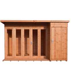INSTALLED 12ft x 8ft (3.59m x 2.39) - Premier Pent Wooden Summerhouse - 4 Windows - Double Doors - 12mm T&G Walls - Floor - Roof