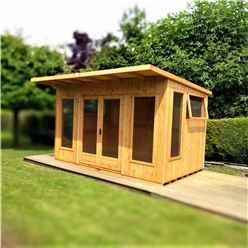 INSTALLED 12ft x 10ft (3.59m x 2.99m) - Premier Pent Wooden Summerhouses - 6 Windows - Double Doors - 12mm T&G Walls - Extra Strength Floor 16mm T&G
