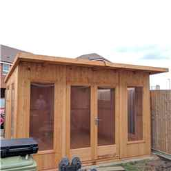 INSTALLED 12ft x 10ft (3.59m x 2.99m) - Premier Pent Wooden Summerhouses - 6 Windows - Double Doors - 12mm T&G Walls - Extra Strength Floor 16mm T&G INSTALLATION INCLUDED