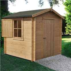 2.4m x 2.4m Premier Apex Log Cabin With Single Door and  Window Shutter + Free Floor & Felt (19mm)