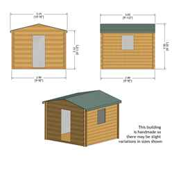 2.7m x 2.7m Premier Apex Log Cabin With Single Door and Window Shutter + Free Floor & Felt (19mm)