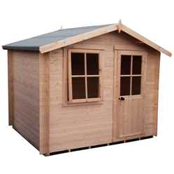 2.4m x 2.4m Premier Log Cabin With Half Glazed Single Door - Opening Window + Free Floor & Felt (19mm)